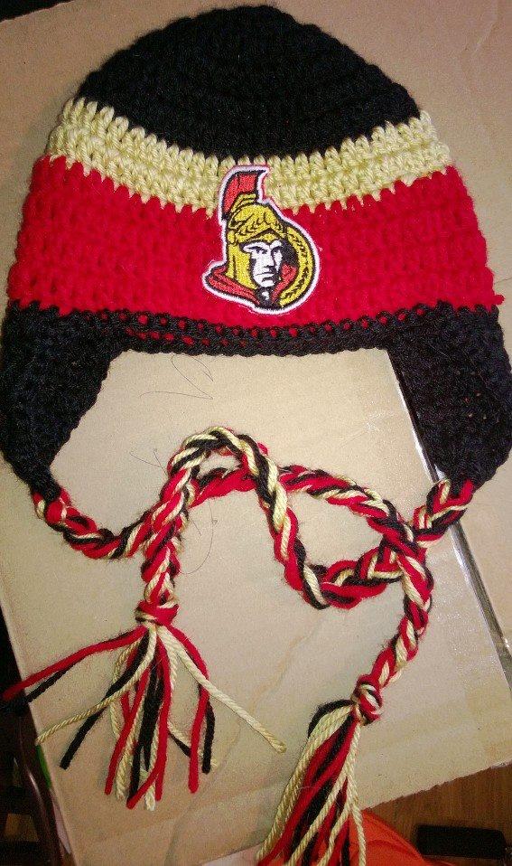 Ottawa Sens crochet hat