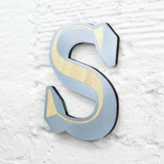 ABC hout teken S - aangepaste lettertype, kleur, grootte.  Naam tekenen met houten alfabet teken, houten Letter, houten alfabet teken, houten teken