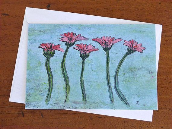 'Gerbera Study' note card, blank greeting card by AnnaCullArt