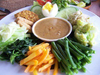 Gado-gado. Spicy Indonesian salad. Steamed vegetables with peanuts sauce.