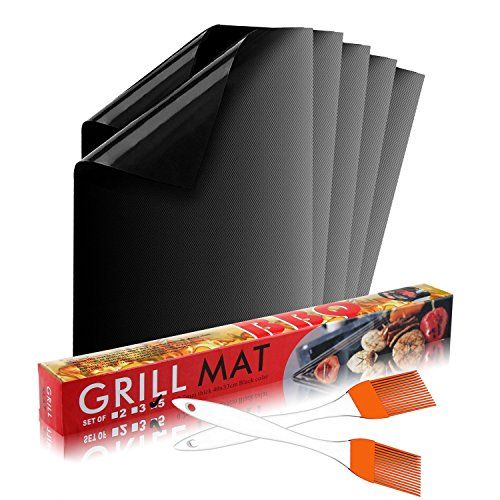 Calish Grill Mat Set of 5, Non Stick BBQ Mat, Reusable and Easy to Clean Barbecue Mat, Perfect for Baking on Gas, Charcoal, Oven and Electric Grills with Silicone Basting Oil Brush Set of 2