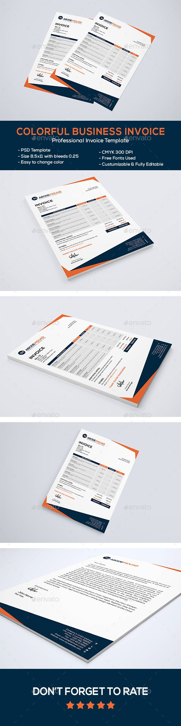 Colorful Business Invoice Template PSD #design Download: http://graphicriver.net/item/colorful-business-letterhead/14370232?ref=ksioks