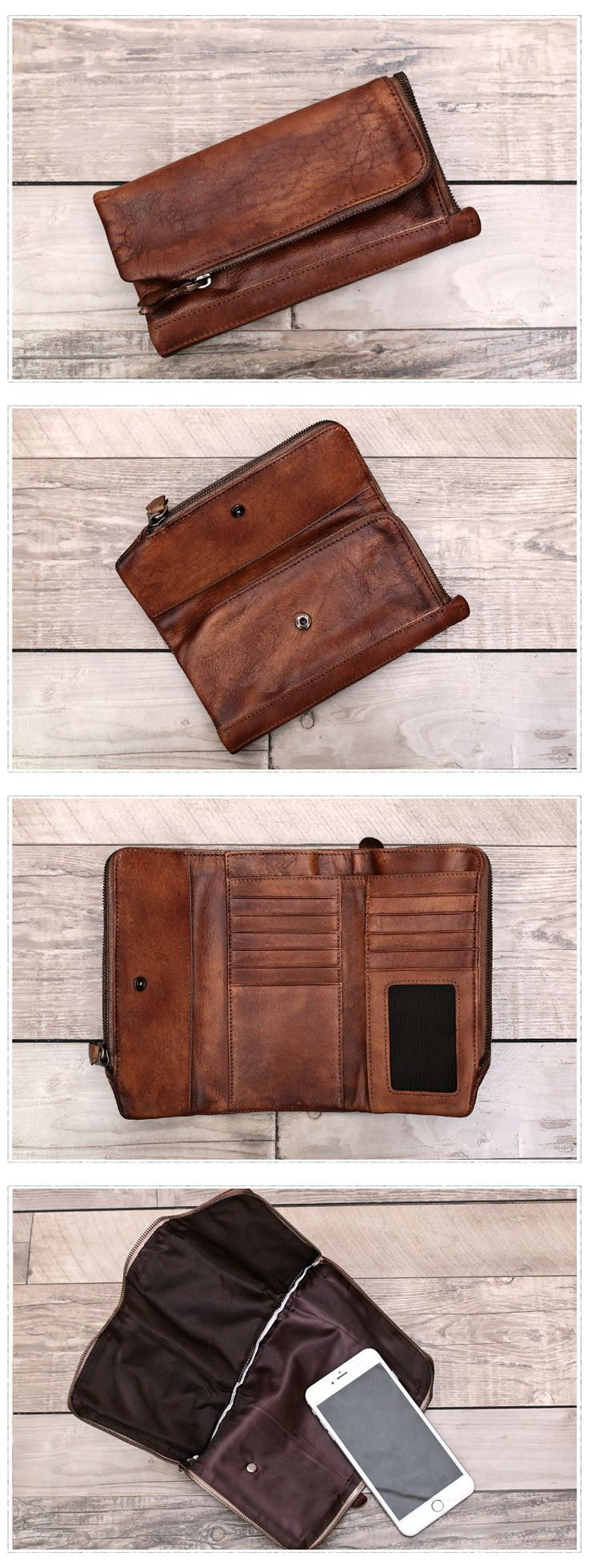 Full Grain Leather Wallet Phone Wallet Long Purse Dimensions: Length: 16.5cm; Height: 9cm Color: Brown