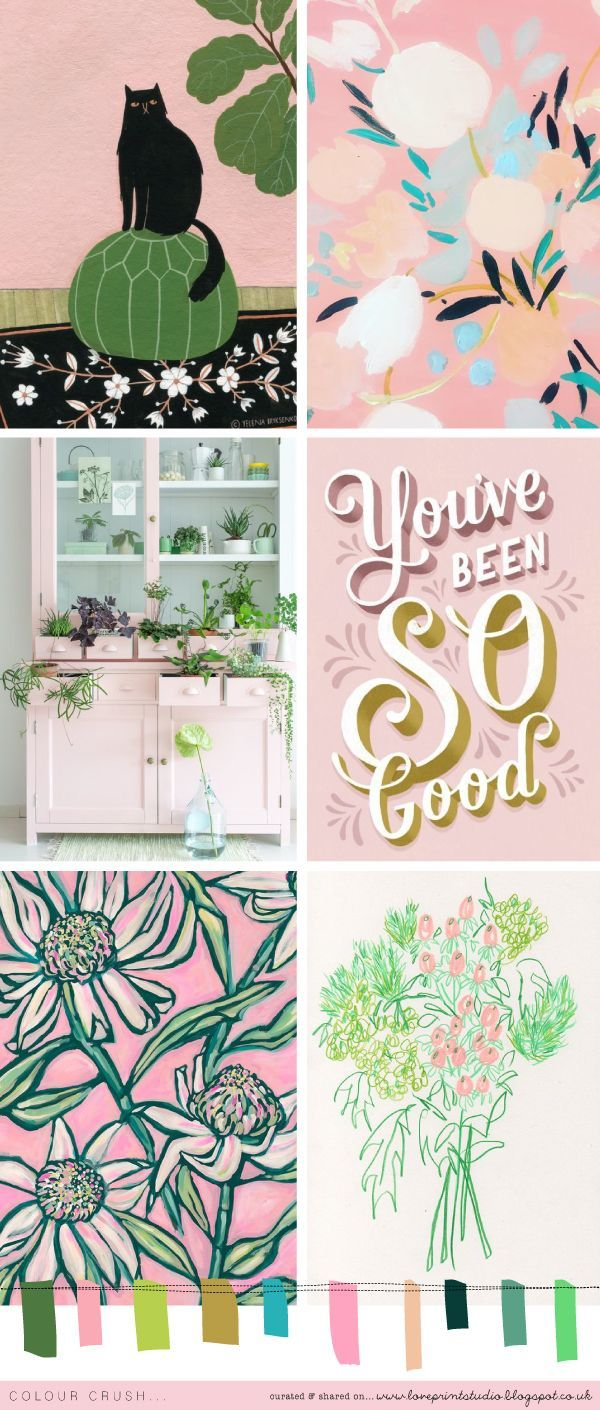 A pretty, feminine colour crush post today featuring beautiful pinks and blush tones with fresh, crisp lime greens, and khakis...         (...