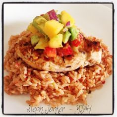 Mexican Chicken. Mexican rice with YIAH Taco spice, YIAH Fajita Chicken breast with Mango/avocado salsa using Lemon Myrtle Sugar and Lime and cracked pepper salt.  To purchase: http://www.stephaniejonker.yourinspirationathome.com.au/  and come visit me at: www.facebook.com/stephyiah
