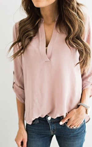 This Ily Couture Dusty Pink V Neck Top is the work blouse we have been waiting for! Click to buy it on ShopStyle!
