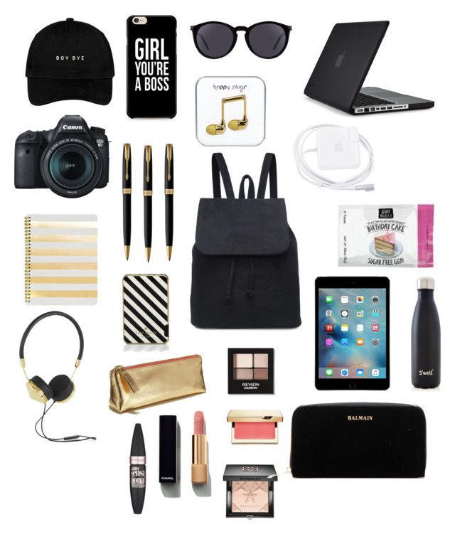 """Carry-on essentials"" by unicorn-tribe ❤ liked on Polyvore featuring Yves Saint Laurent, Eos, Sugar Paper, Parker, Kate Spade, Frends, Maybelline, Chanel, Revlon and Clarins"