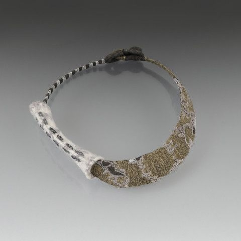 Yellow and Grey Collar with White Armature Bead