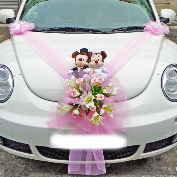 Wedding car decoration tulle with floral bouquet topped by mickey and minnie a fairytale - Wedding decorations for car ...