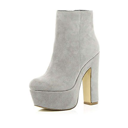 Grey platform ankle boots #riverisland