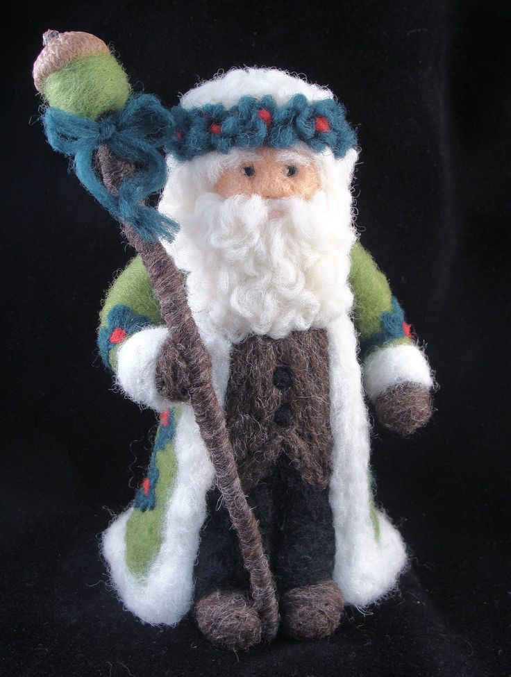 Needle Felted Green Santa Claus - Needlefelted Elf, Father Christmas or Santa Claus Soft Sculpture by McBride House. $76.00, via Etsy.