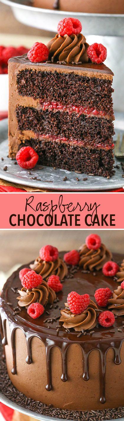 Raspberry Chocolate Layer Cake - layers of moist chocolate cake, chocolate ganache and raspberry filling!