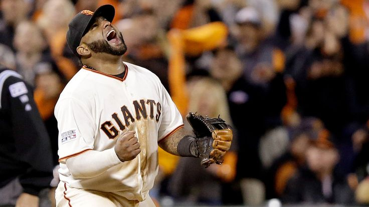 Pablo Sandoval celebrates the Giants being one win away from their third World Series in five years.
