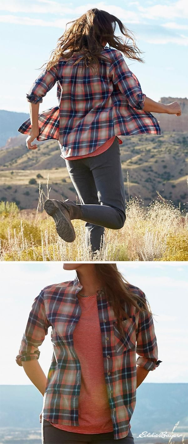 The Stine's Favorite Flannel is proof that guys can't claim exclusive rights to the great flannel shirt. We start with an exceptional cotton fabric, and brush it on both sides for ultrasoft comfort. Finished in a boyfriend style with drop shoulders and a single chest pocket. | Eddie Bauer