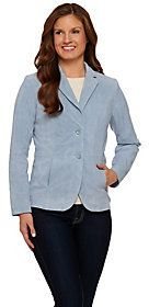 As Is Isaac Mizrahi Live! Suede Blazer w/ Gingham Lining