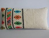 """12x24"""" handcrafted lumbar kilim pillow kilim fabric accent pillow cover handknit decorative throw pillow case modern turkish cushion cover"""