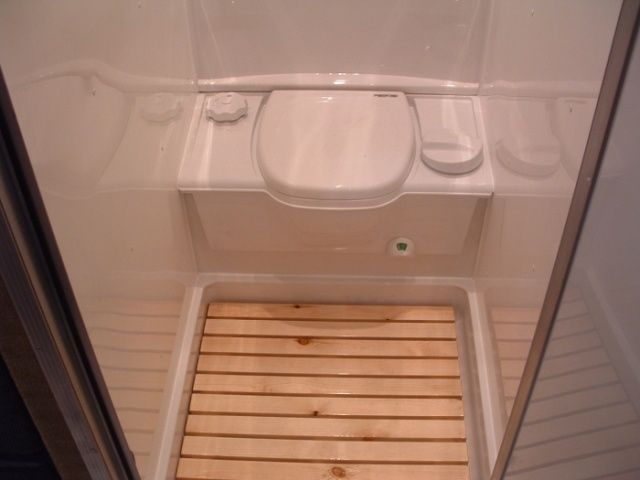 Small RV Trailers Bathroom - Removable Shower Deck