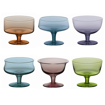 This fabulous collection of different shaped and multi colour glass bowls will make a quirky addition to any table! Matching tumblers and wine glasses are also available.
