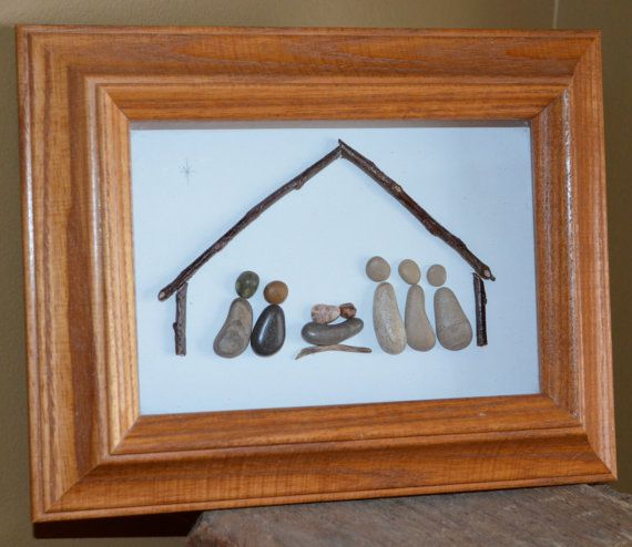 Nativity Scene, Pebble nativity Scene, one of a kind, pebble art, rock art…