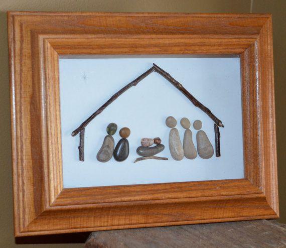 Nativity Scene, Pebble nativity Scene, one of a kind, pebble art, rock art…