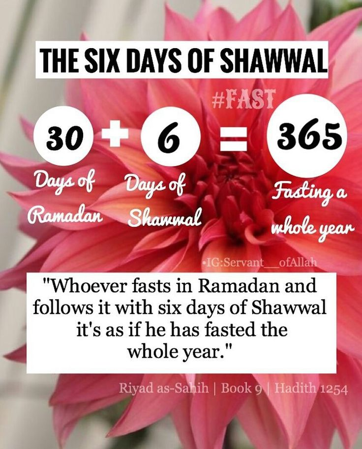 """Whoever fasts Ramadan and 6 days of Shawwal is as if he tasted the whole year ""- Hadith Sahih Muslim 1164"
