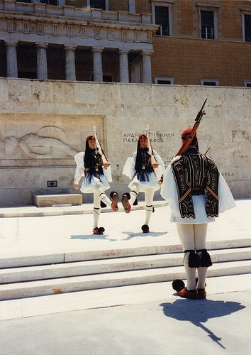 Changing of the Guards at the Monument of Unknown Soldier, in front of the Parliament. Athens 1995. by gchristof, Flickr