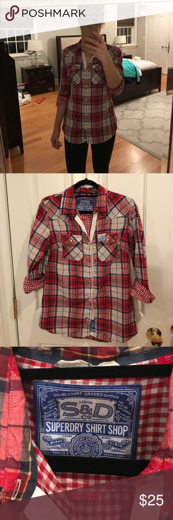 Selling this Super Dry plaid button down. on Poshmark! My username is: mchristine14. #shopmycloset #poshmark #fashion #shopping #style #forsale #Superdry #Tops