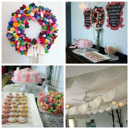 Balloon Wreath and Bunting  http://www.lifeasweknowit-blog.com/2011/11/kids-stuff-high-tea-party.html