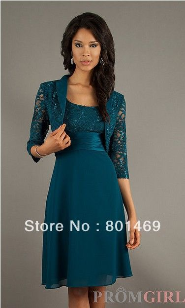 New Elegant 2013  Dark Green Mother Of The Bride Dresses Scoop Chiffon Lace Jacket Knee Length Gown-in Mother of the Bride Dresses from Apparel & Accessories on Aliexpress.com