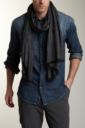 Jacquard Effect Wool Silk Blend Knit Scarf by John Varvatos Collection on @HauteLook, styled with denim shirt and gray pants