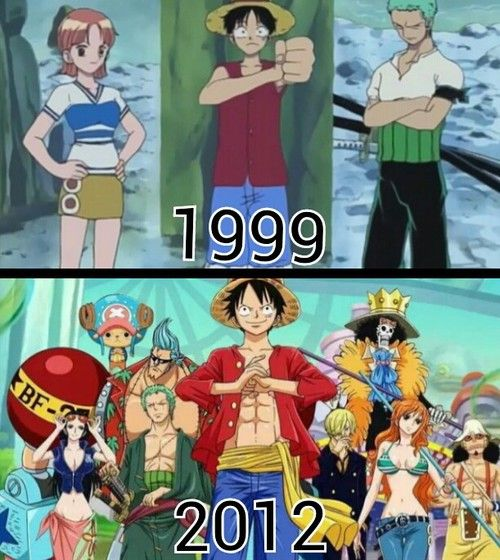 one piece 1999 2012 evolution of the strawhats one