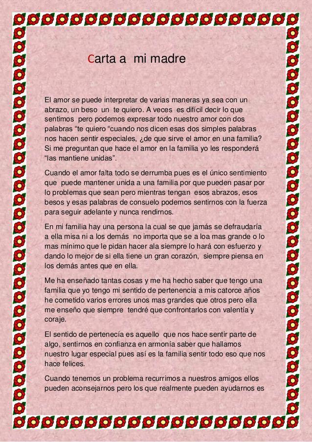 Poemas Bonitas Cartas Para El Dia De La Madre Carta De Una Madre 1 Carta A Mi Madre Feliz Dia Mama Frases