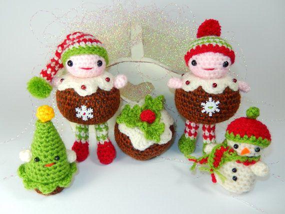 Christmas Pudding People and Friends Amigurumi от mojimojidesign, $4.50