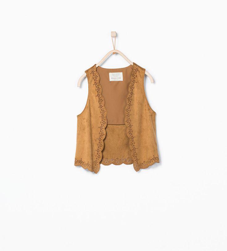 Image 2 of Cut work faux suede waistcoat from Zara