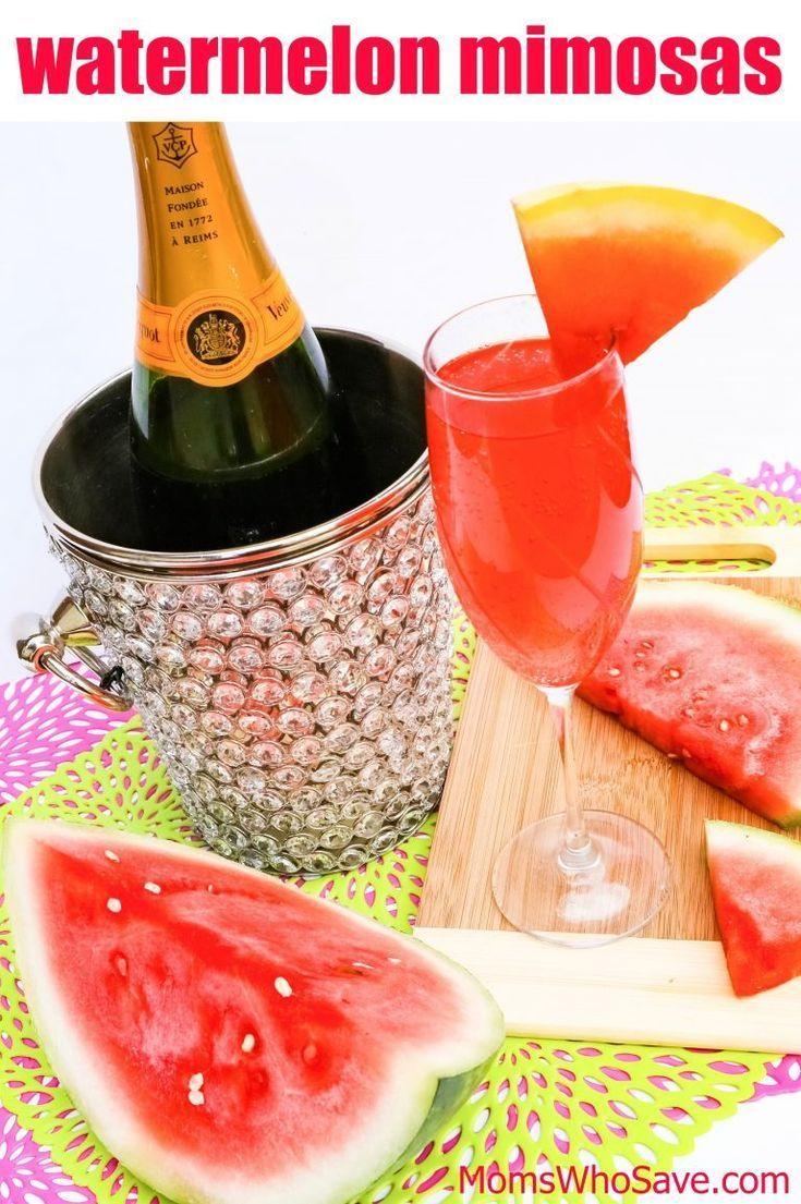 Jul 8, 2020 – Watermelon Mimosas — Easy Recipe! | MomsWhoSave.com #cocktails #drinks
