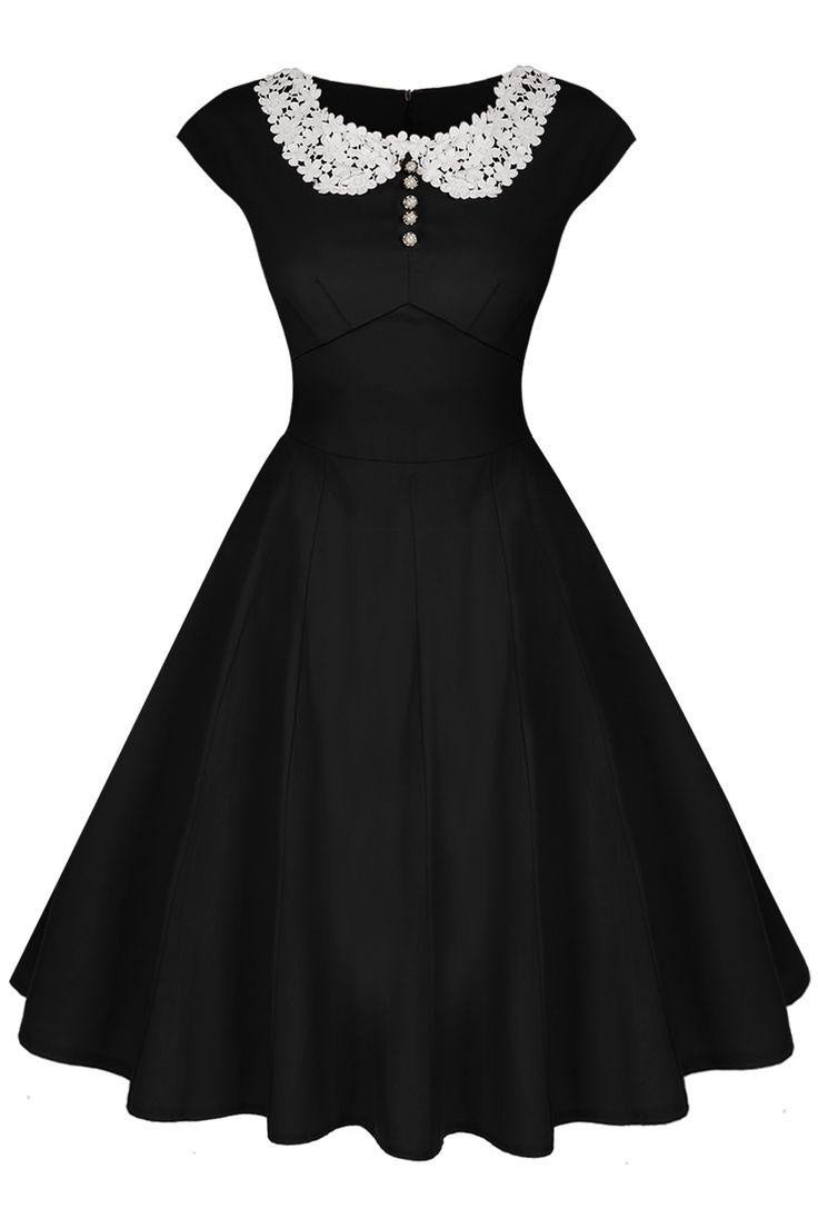Black dress retro - Acevog Women S Cap Sleeve 1950s Style Vintage Black Lace A Line Dress Black
