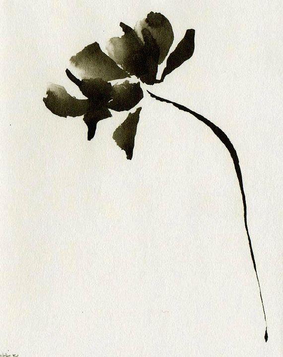 Arte tinta original basándose en el ácido libre de papel / negro y blanco, tinta oscura, tinta Aguada, flor del arte, por Cristina Ripper