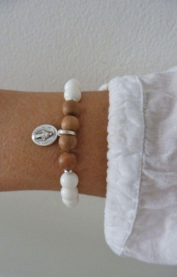 white shell sandalwood bracelet silver miraculous bracelet by beachcombershop on Etsy