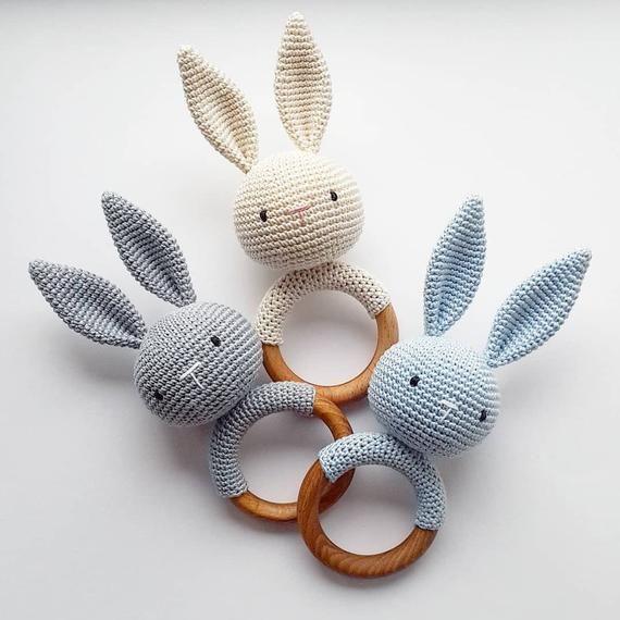 Bunny Rattle Newborn Boy Rattle Wood Rattle Wooden Rabbit Rattle Newborn Gift Pregnancy Gift Mom Gif