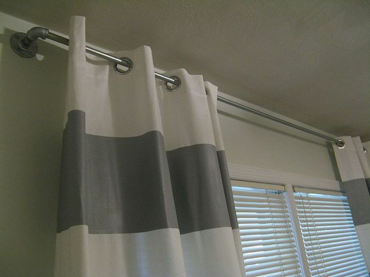Industrial Look Curtain Rods with grommet curtains (metal rings in ...