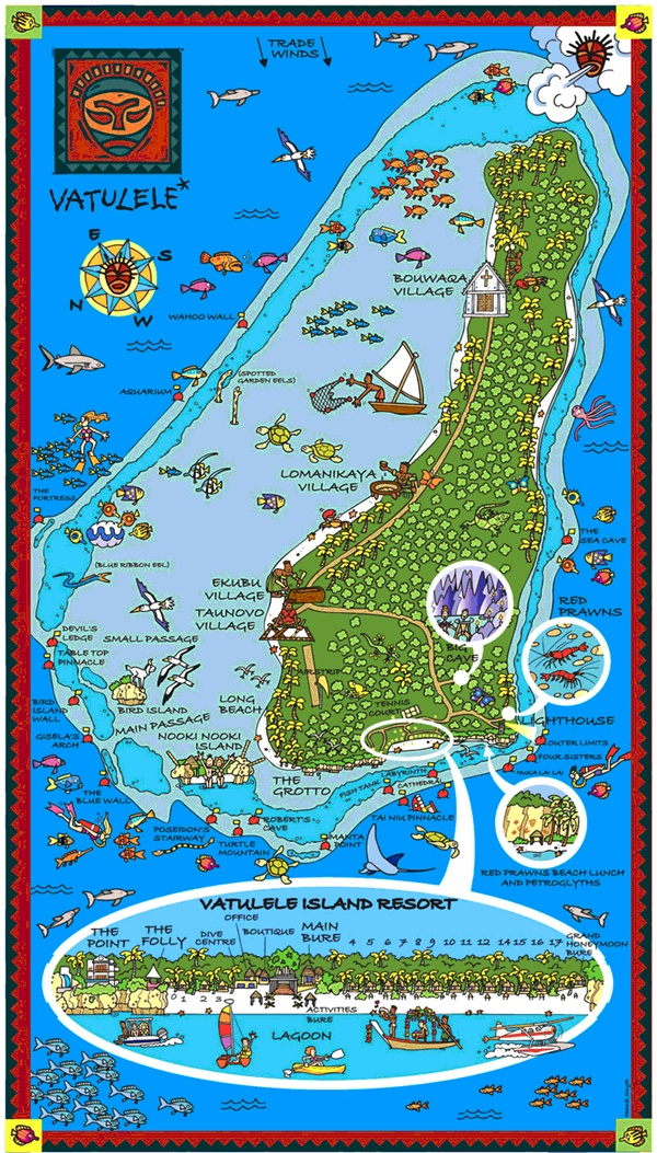 Vatulele Map - Fiji