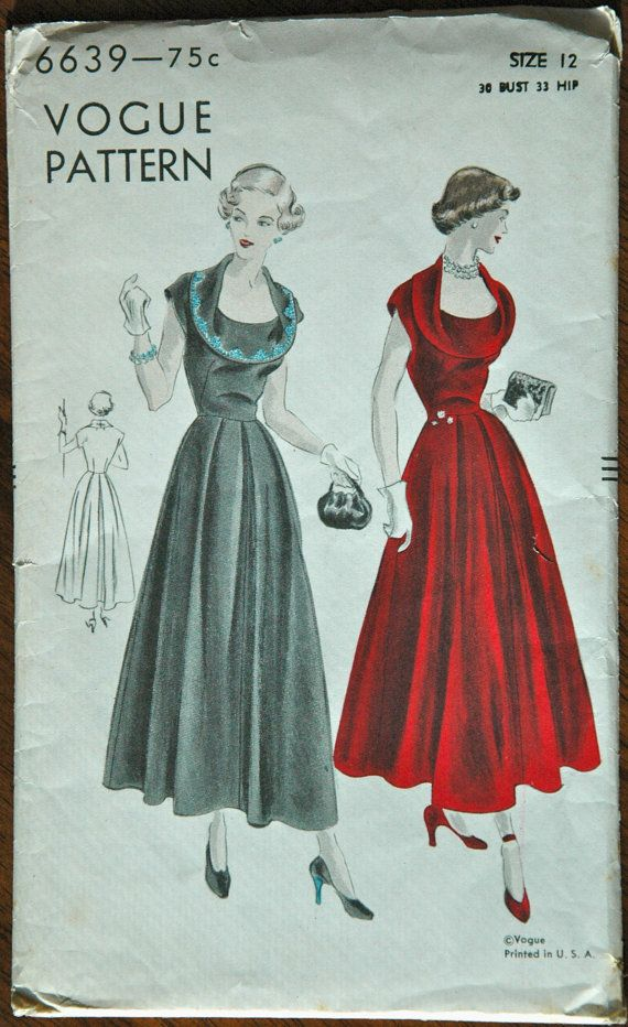 1940's Vogue One Piece Dress Pattern  Bust 30 by backroomfinds