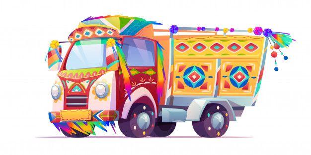 Jingle Truck Indian Or Pakistan Ornate Free Vector Freepik