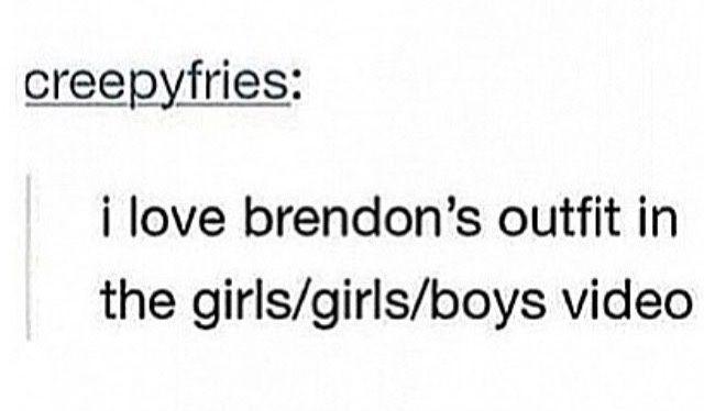 Brendon Urie Panic! At The Disco p!atd Sarah Urie girls/girls/boys panic at the disco meme fall out boy meme fob meme