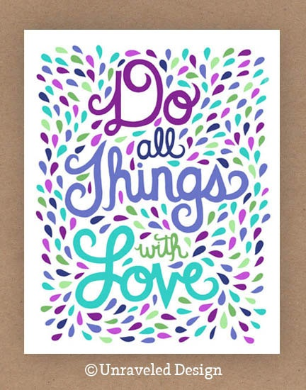 11x14in Things with Love Quote Illustration by unraveleddesign, $35.00