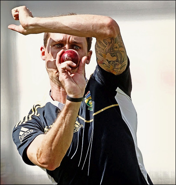 Dale Steyn shows the fast bowlers best weapons are his eyes and tatoos.