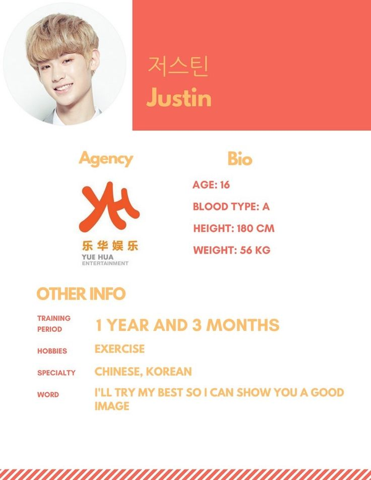 Justin profile #Produce101 [credit; mnet101boys - twitter]