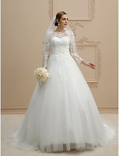 Ball Gown Illusion Neckline Chapel Train Lace Tulle Wedding Dress with Pearl Appliques Lace Button by LAN TING BRIDE®