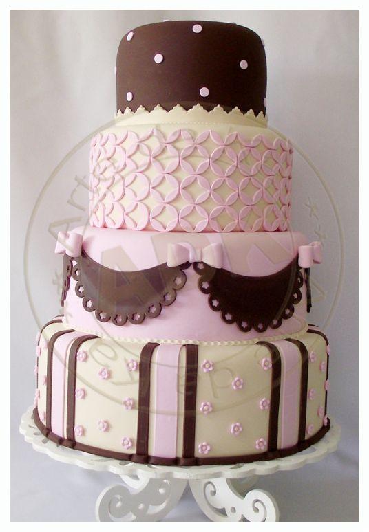Pink, Brown & Ivory Wedding Cake