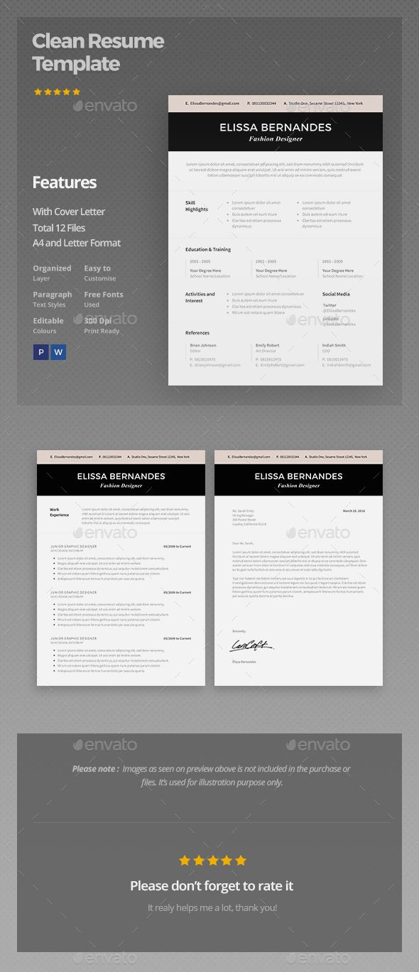 958 Best Simple Resume Template Images On Pinterest Font Logo